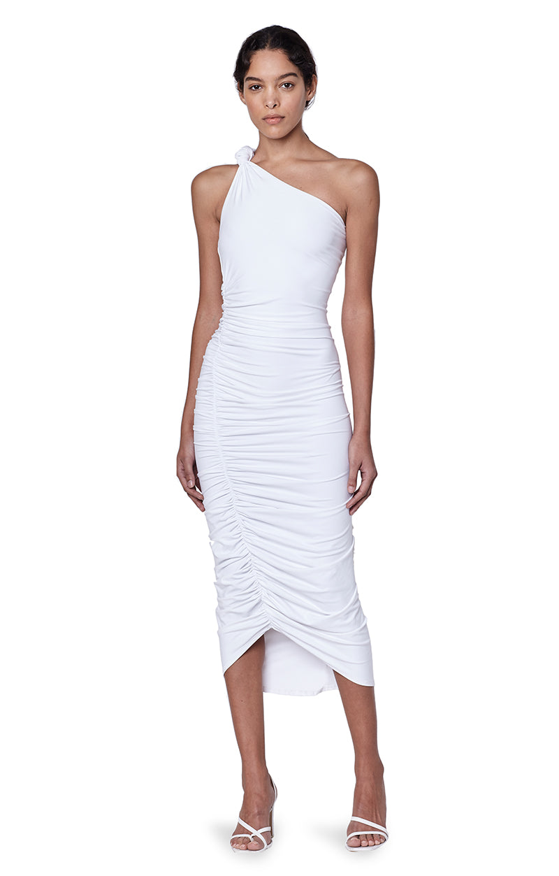 Celeste White Rouched  Knotted One Shoulder Dress Main