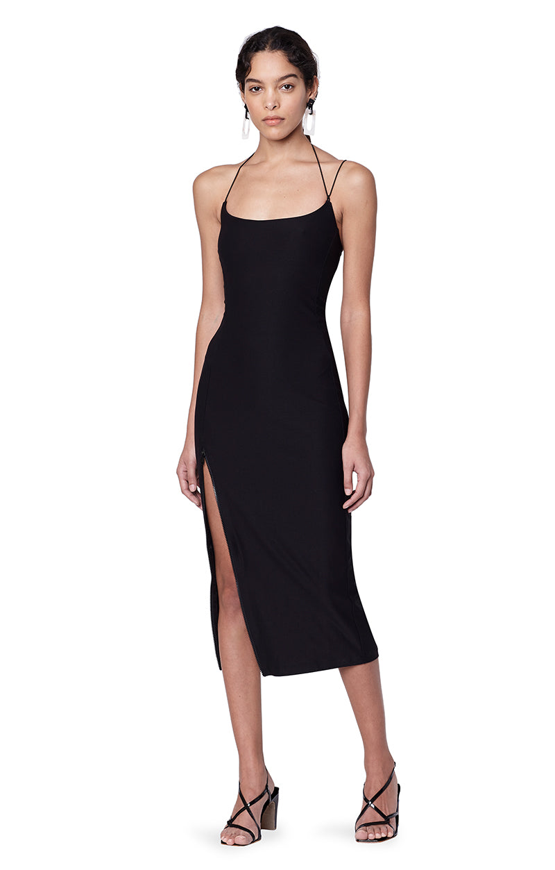 Kenmare Black Asymmetrical Spaghetti Strap Dress Main