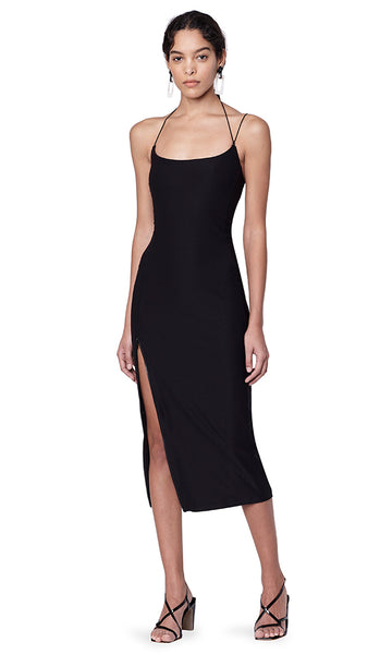 Kenmare Black Asymmetrical Spaghetti Strap Dress