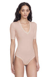 Bedford Sand Bodysuit V-Neck Ribbed Tee Jersey Side View