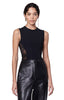 Bayard Black Lace Side Panel Sleeveless Bodysuit  With Leather Pants