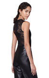 Bayard Black Lace Panel Sleeveless Bodysuit Back ViewWith Pants