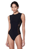 Bayard Black Lace Side Panel Sleeveless Bodysuit Front View