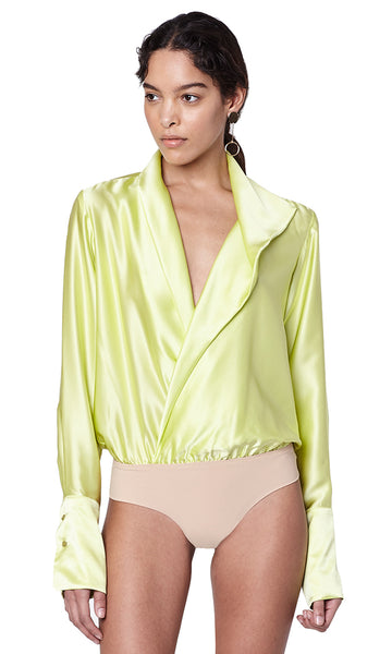 Reade Limoncello Silk Draped V-Neck Blouse Bodysuit with Jeans Outfit