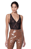 Classon Black Lace Triangle Top Tank Bodysuit With Patent Leather Pants