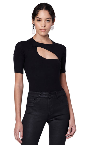 Sloan Black Ribbed Cutout Half Sleeve Bodysuit