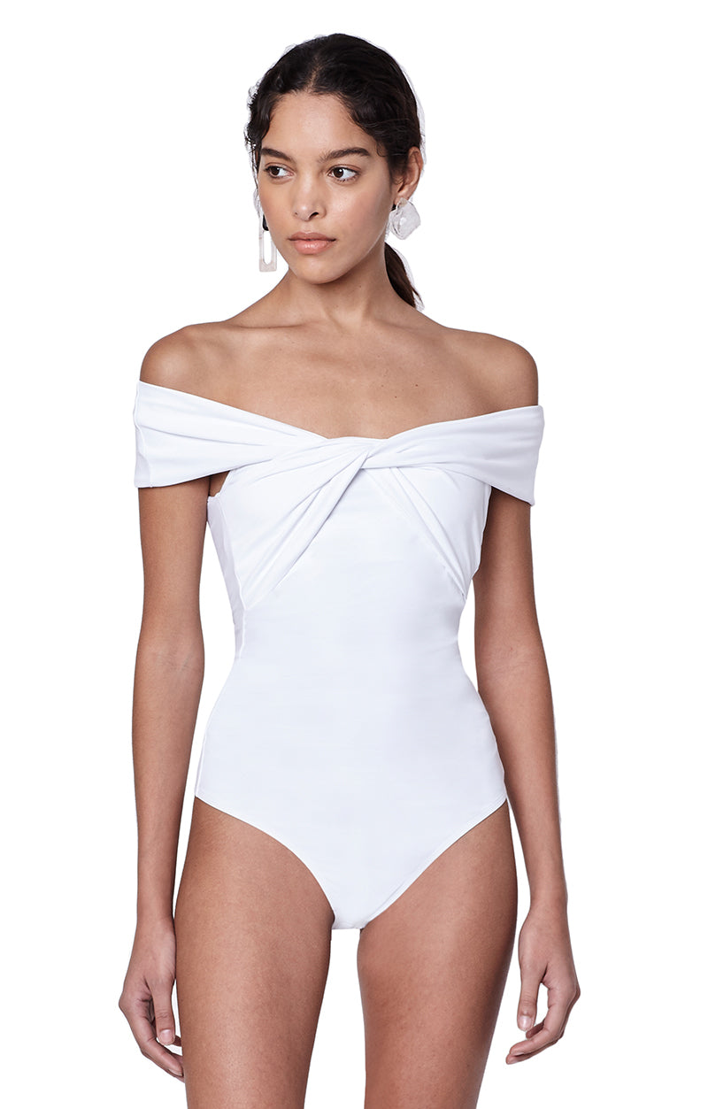 Grove White Twist Off the Shoulder Bodysuit Front View