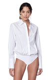 """Howard"" White Poplin Buttondown Bodysuit Front View."