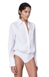 """Howard"" White Poplin Buttondown Bodysuit Side View"
