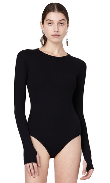 Colby Black Ribbed Long sleeve Crewneck Bodysuit