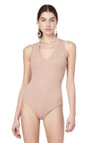 Merit Sand Sleeveless Ribbed Jersey V-neck Bodysuit Front View Alt