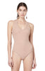 Merit Sand Sleeveless Ribbed Jersey V-neck Bodysuit Front View
