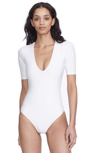 Ludlow White Bodysuit V-Neck Tee Mid Weight Jersey Bodysuit