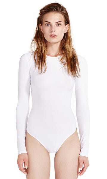 Leroy White Bodysuit Long Sleeve Crew Neck 'Second Skin' Jersey.