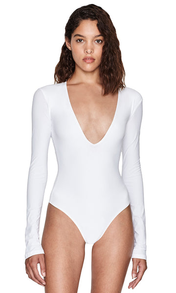 Irving White Bodysuit Long Sleeve V-Neck