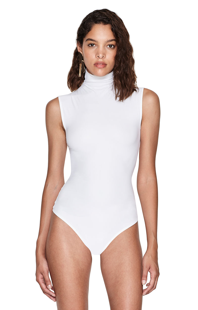 Denton White Skin Turtleneck Bodysuit Front