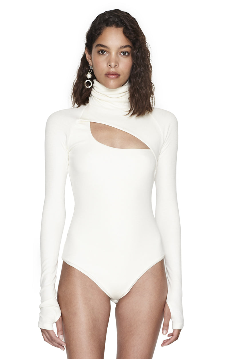 """Carder"" Ivory Ribbed Long Sleeve Turtleneck Bodysuit Front View"