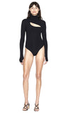 """Carder"" Black Rib Long Sleeve Turtleneck Bodysuit Front View"