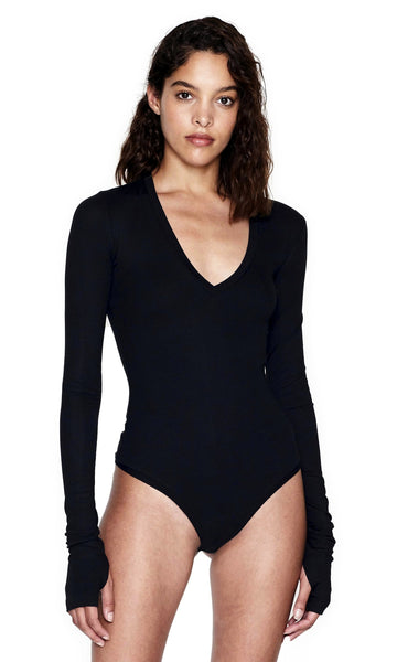FULTON BLACK LONG SLEEVE RIBBED V-NECK BODYSUIT MAIN IMAGE