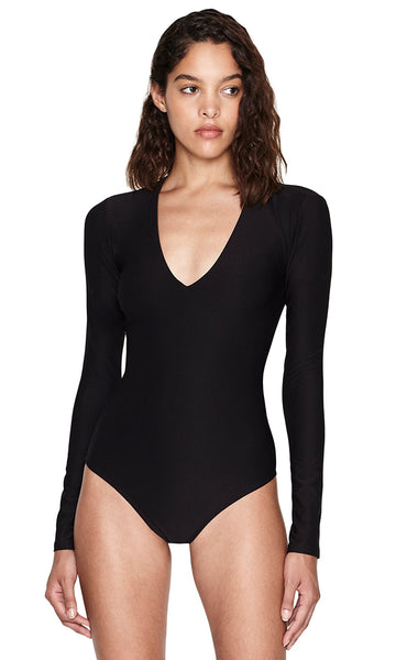 Dover Black V-neck Long Sleeve Jersey Bodysuit