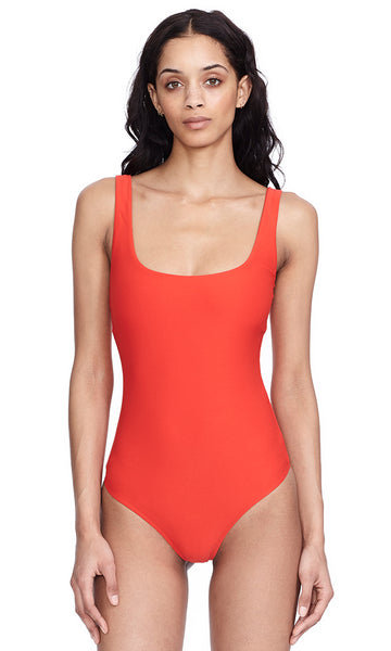 Mott Lava Red Scoop neck Tank Bodysuit Main