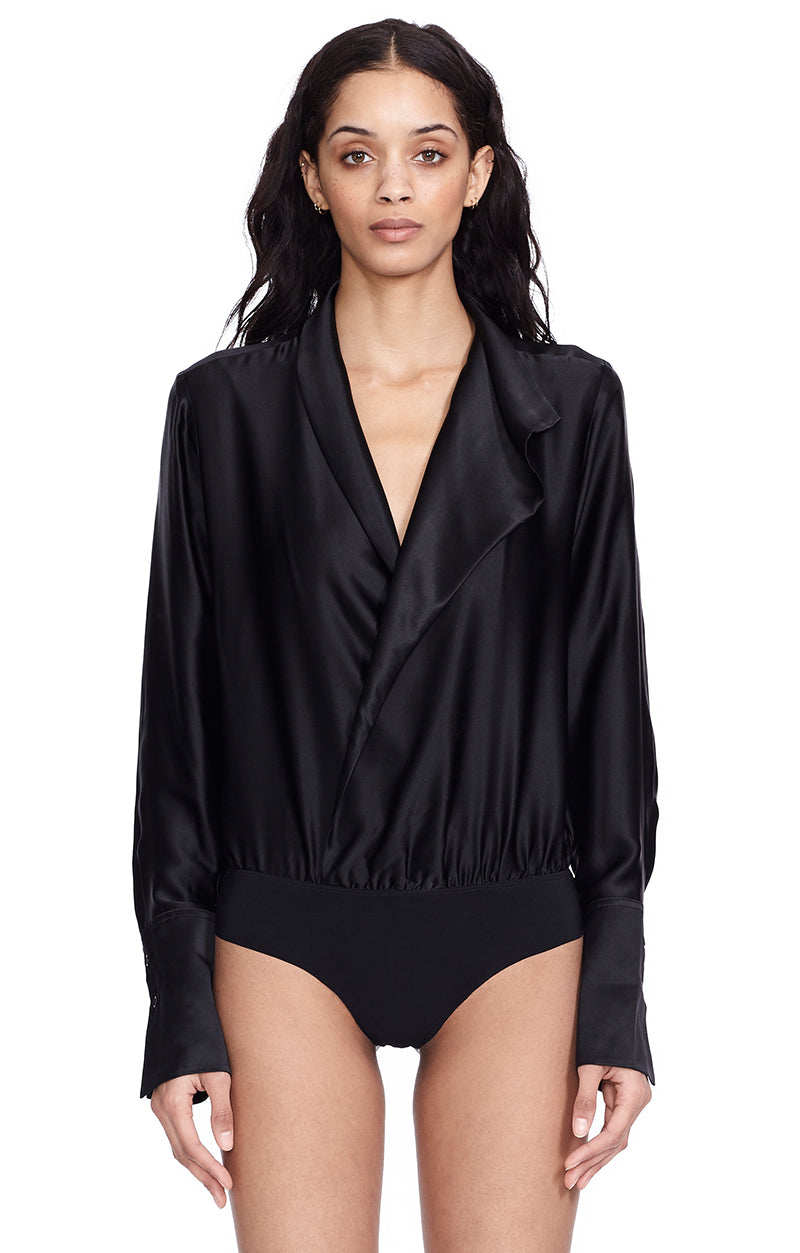 Reade Black Silk Draped V-Neck Blouse Bodysuit Front View