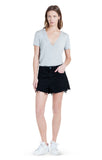 Stanton Heather Grey Bodysuit V-Neck Tee Jersey. Outfit Paired With Black Denim Skirt