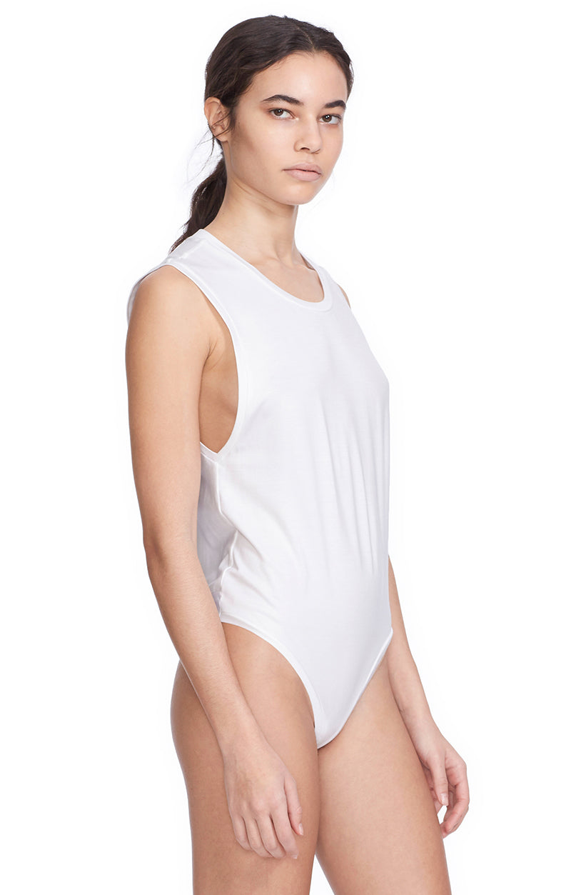 Thompson White Bodysuit Muscle Tee Jersey. Side View