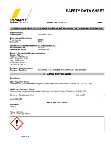 SumTech FMG-1 Semi-Synthetic Food Grade Grease