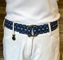 Load image into Gallery viewer, Navy Hunt Caps and Horseshoes Fabric Belt