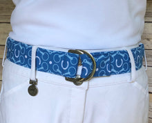 Load image into Gallery viewer, Blue Bits and Horseshoes Fabric Belt