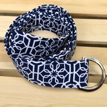 Load image into Gallery viewer, Navy and White Geometric Fabric Belt