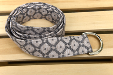 Load image into Gallery viewer, Tan and Grey Diamond Fabric Belt