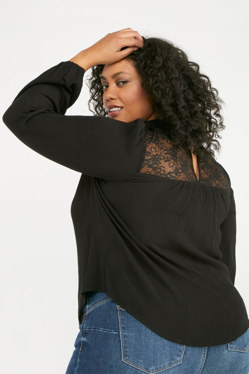 Long Puff Sleeve Mock Neck Top Black