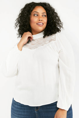 Link to Long Puff Sleeve Mock Neck Top Off White