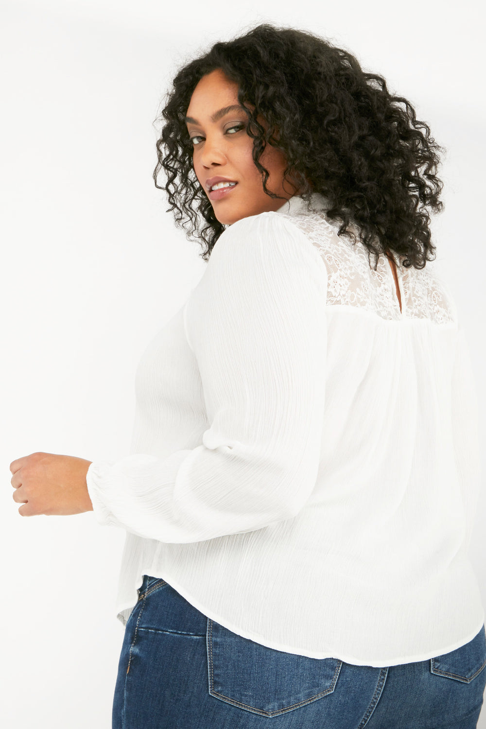 Long Puff Sleeve Mock Neck Top Off White