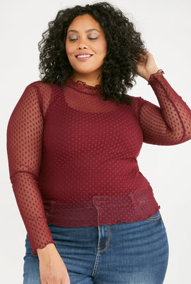 Link to Plus Size Dotted Mesh Mock Neck Top Burgundy