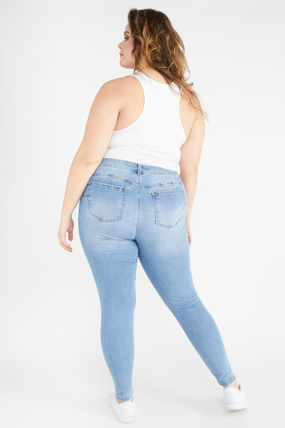 Eco-Friendly Butt, I Love You High-Rise Distressed Push-Up Skinny Jean Sky Blue