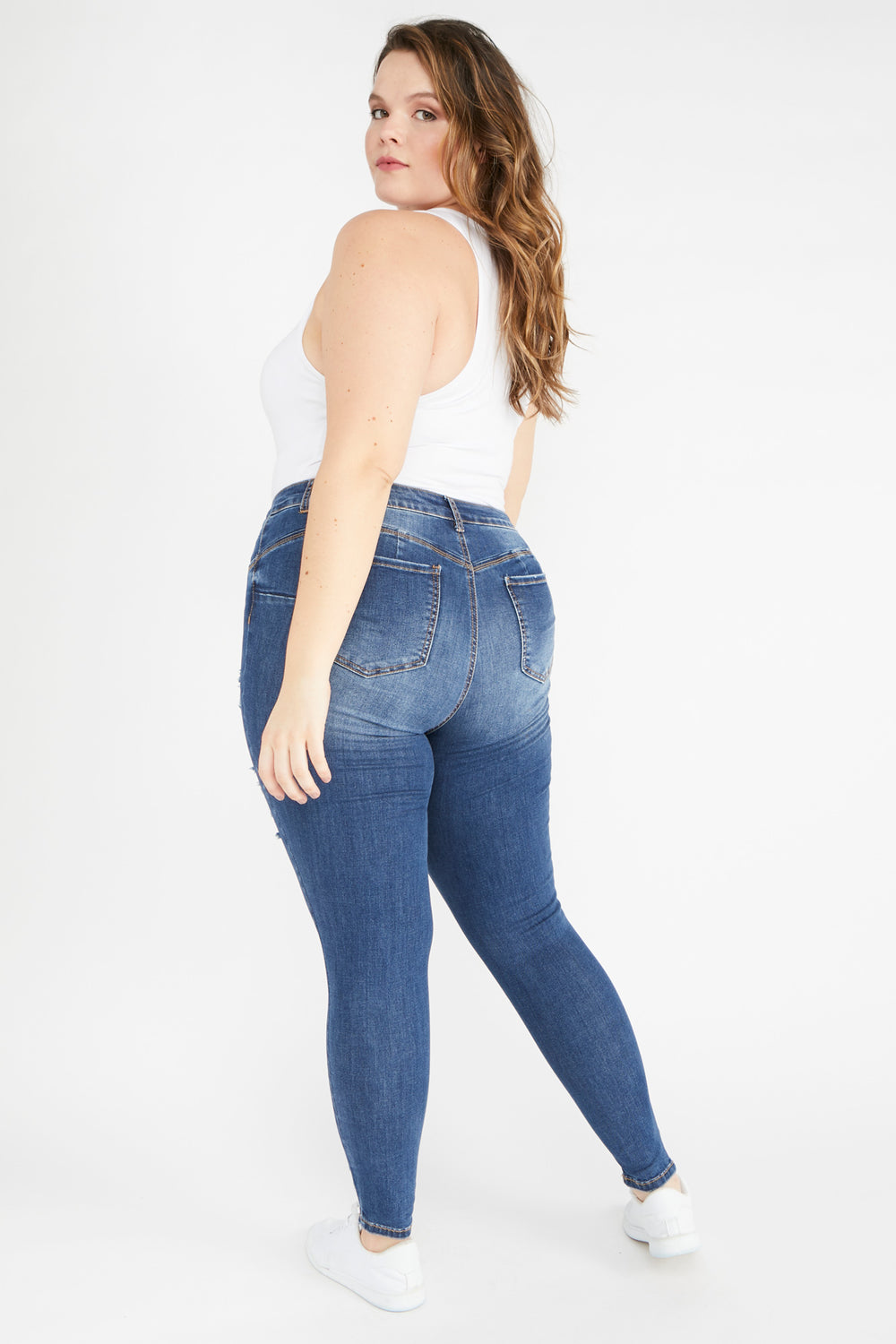 Eco-Friendly Butt, I Love You High-Rise Distressed Push-Up Skinny Jean Navy Blue