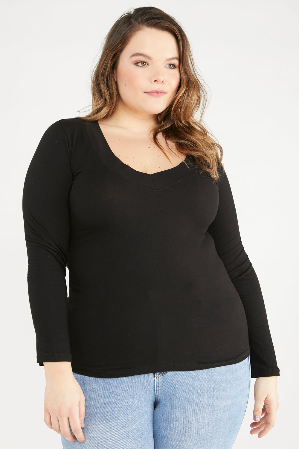Wide Band V-Neck Long Sleeve Top Black