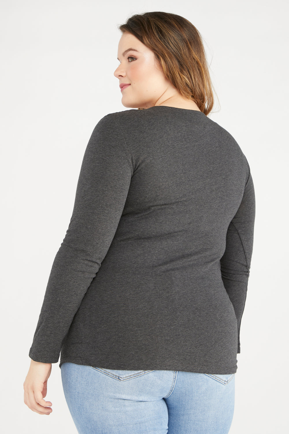 Wide Band V-Neck Long Sleeve Top Charcoal