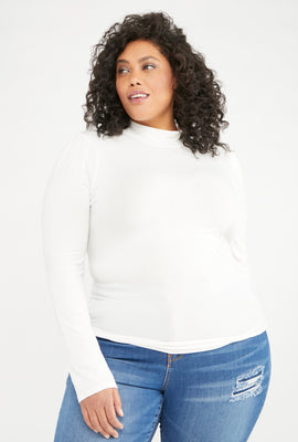 Link to Lace Long Sleeve Mock Neck Top Off White