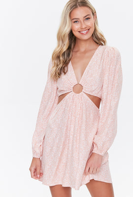 Link to Puff-Sleeve Cutout Mini Dress Pink