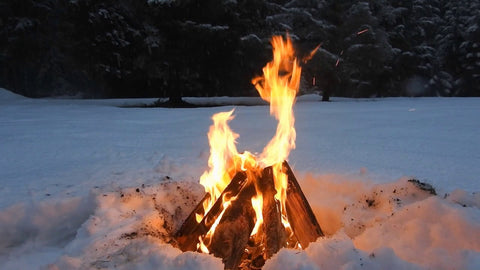 Winter Campfire - Camping in the winter