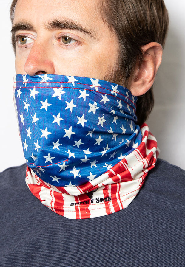 USA Flag Face Covering - Neck Gaiter- Face Cover - Bandanas - Scarf - Headwear - Stitch & Simon
