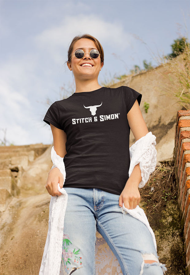 Womens T-shirt Stitch & Simon Bullhead - Cool T-Shirts For Women - Stitch & Simon
