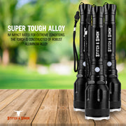 Super Bright Powerful Handheld Torch 1800 Lumens Flashlight LED Rechargeable Weatherproof Aluminium by Stitch & Simon - Stitch & Simon