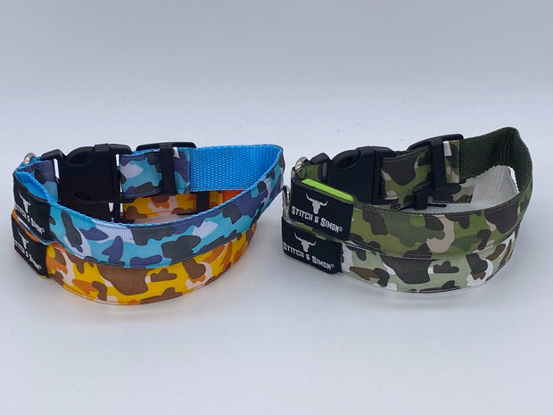 Camouflage LED Dog Collars - Light Collar for Dogs, Safety, Flashing Light, USB Rechargeable - Camouflage Colours - Stitch & Simon