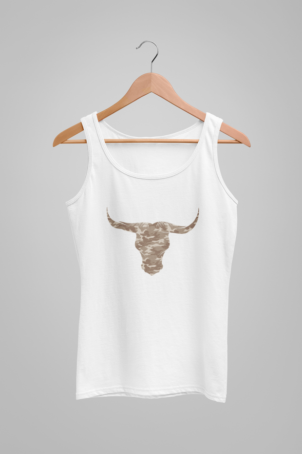 Camouflage Bull Womens Cool Looking Vest Top by Stitch & Simon - Stitch & Simon