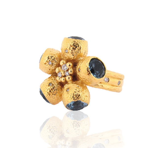 Goddess Ophelia Ring - 9ct Gold - Blue Topaz And Diamonds